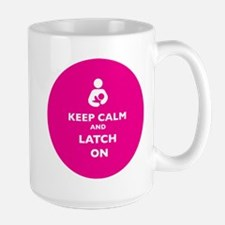 Keep Calm and Latch On Pink Mugs