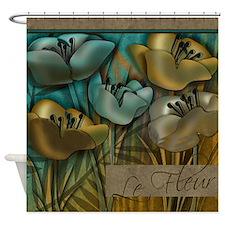 Aqua and Gold le Fleur Shower Curtain