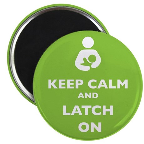 Keep Calm and Latch On Lime Magnets