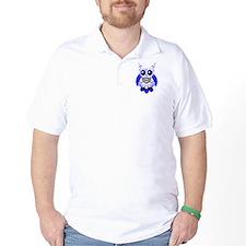 Blue White Sugar Skull Owl T-Shirt