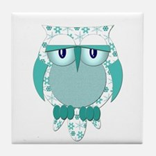 Winter Snow Owl Tile Coaster