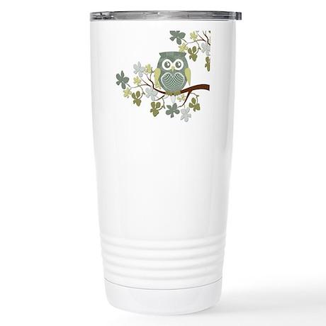 Polka Owl in Tree Stainless Steel Travel Mug