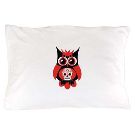 Red Sugar Skull Owl Pillow Case