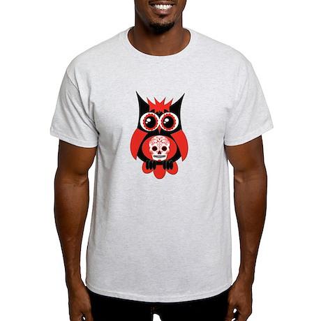 Red Sugar Skull Owl Light T-Shirt