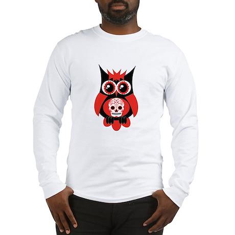 Red Sugar Skull Owl Long Sleeve T-Shirt