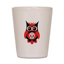 Red Sugar Skull Owl Shot Glass