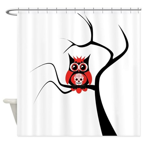 Red Sugar Skull Owl In Tree Shower Curtain By