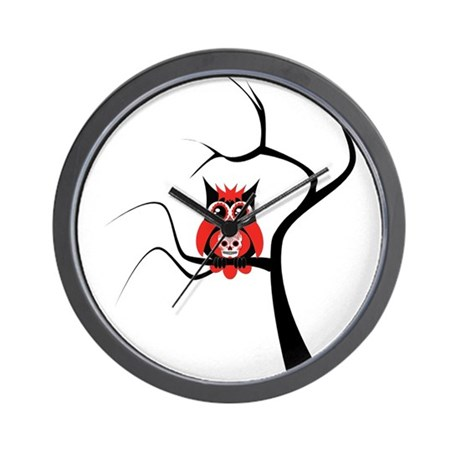 Red Sugar Skull Owl in Tree Wall Clock
