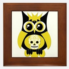 Yellow Sugar Skull Owl Framed Tile