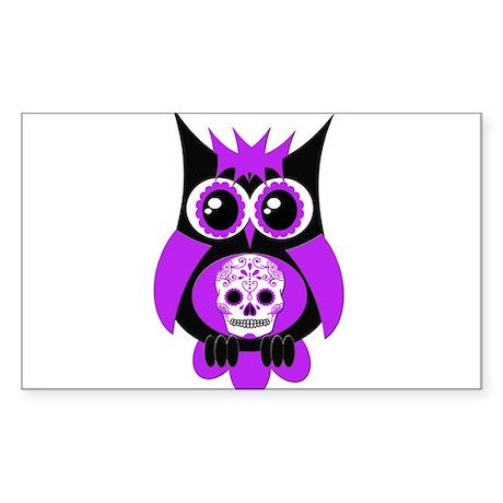 Purple Sugar Skull Owl Sticker (Rectangle)