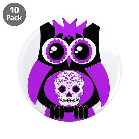 "Purple Sugar Skull Owl 3.5"" Button (10 pack)"