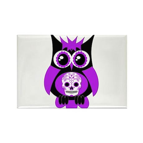 Purple Sugar Skull Owl Rectangle Magnet