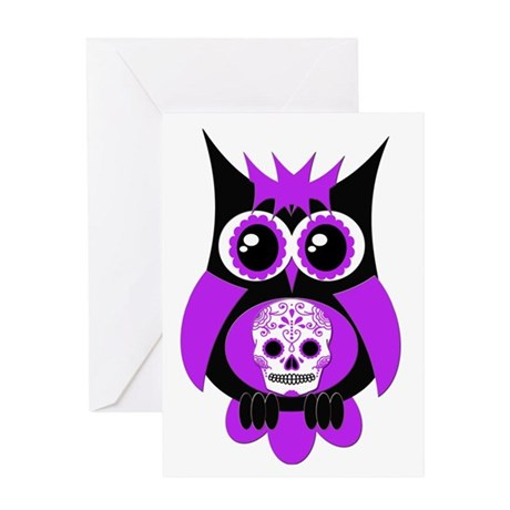 Purple Sugar Skull Owl Greeting Card