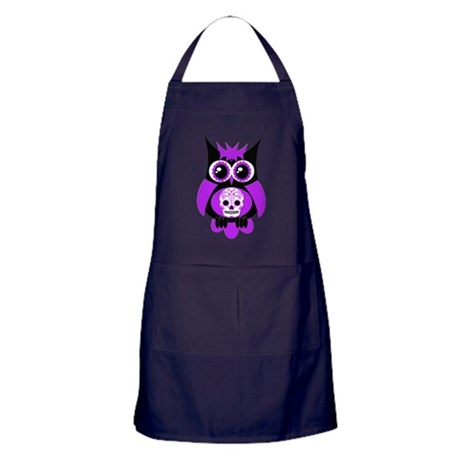 Purple Sugar Skull Owl Apron (dark)