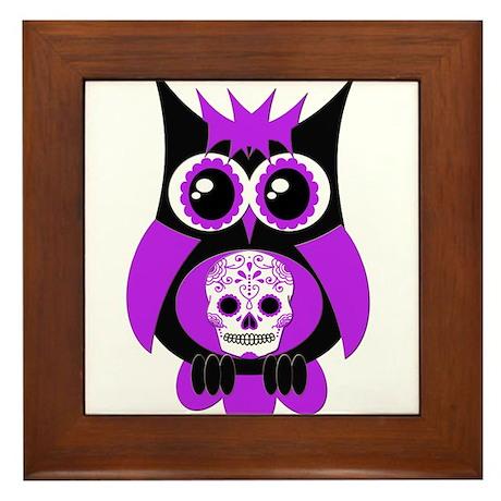 Purple Sugar Skull Owl Framed Tile