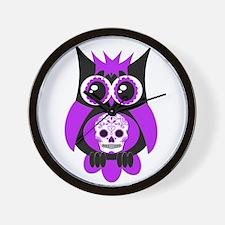 Purple Sugar Skull Owl Wall Clock