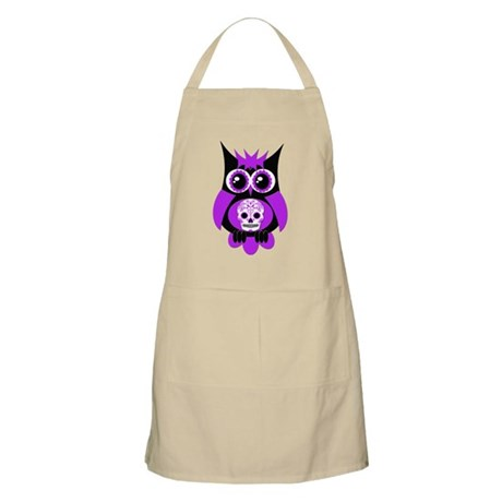 Purple Sugar Skull Owl Apron