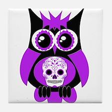 Purple Sugar Skull Owl Tile Coaster