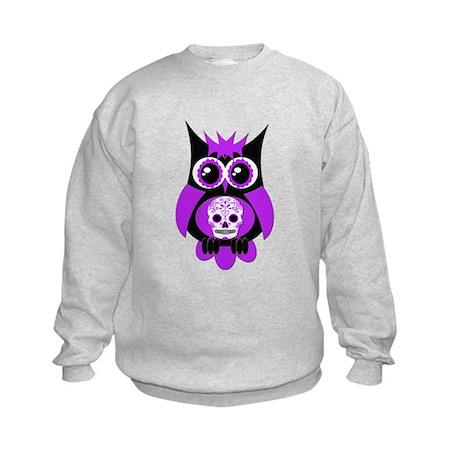 Purple Sugar Skull Owl Kids Sweatshirt