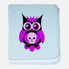 Purple Sugar Skull Owl baby blanket