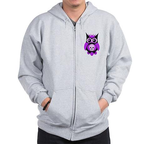 Purple Sugar Skull Owl Zip Hoodie