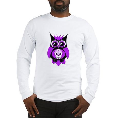 Purple Sugar Skull Owl Long Sleeve T-Shirt