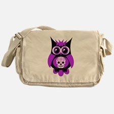 Purple Sugar Skull Owl Messenger Bag