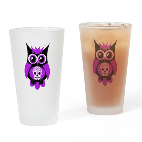 Purple Sugar Skull Owl Drinking Glass