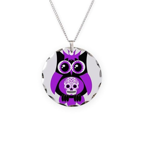 Purple Sugar Skull Owl Necklace Circle Charm