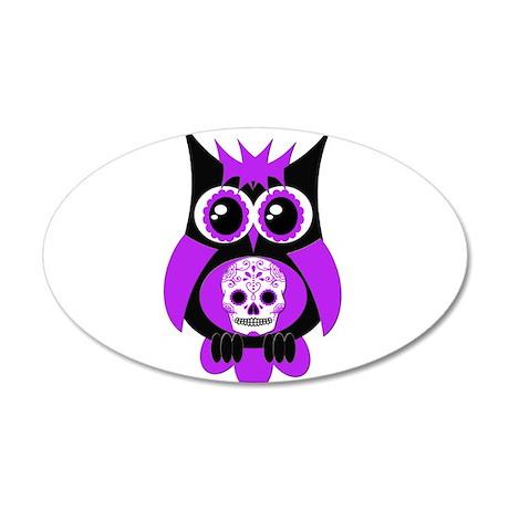 Purple Sugar Skull Owl 22x14 Oval Wall Peel