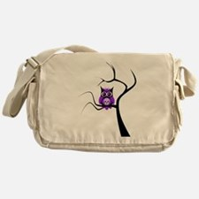 Purple Sugar Skull Owl in Tre Messenger Bag