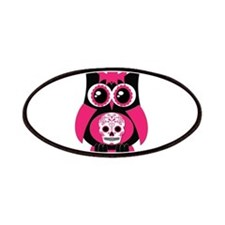 Pink Sugar Skull Owl Patches