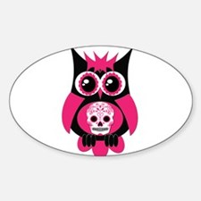 Pink Sugar Skull Owl Decal