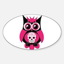 Pink Sugar Skull Owl Sticker (Oval)