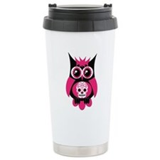 Pink Sugar Skull Owl Travel Coffee Mug