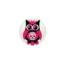 Pink Sugar Skull Owl Mini Button (10 pack)