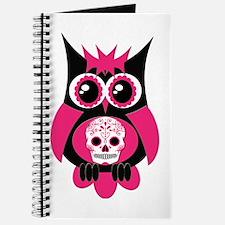 Pink Sugar Skull Owl Journal