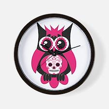 Pink Sugar Skull Owl Wall Clock