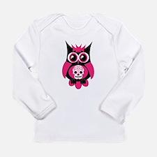 Pink Sugar Skull Owl Long Sleeve Infant T-Shirt