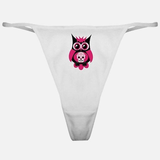 Pink Sugar Skull Owl Classic Thong