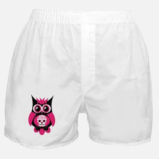 Pink Sugar Skull Owl Boxer Shorts
