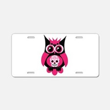 Pink Sugar Skull Owl Aluminum License Plate