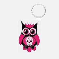 Pink Sugar Skull Owl Keychains