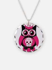 Pink Sugar Skull Owl Necklace