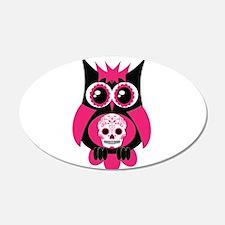 Pink Sugar Skull Owl 22x14 Oval Wall Peel
