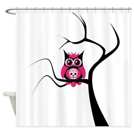 Pink Sugar Skull Owl in Tree Shower Curtain