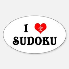 I heart Sudoku Oval Decal