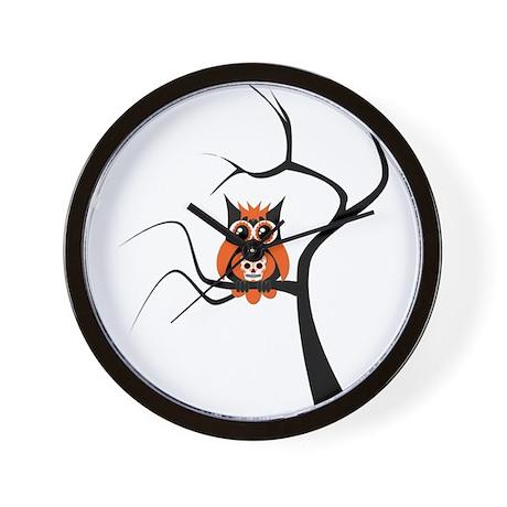 Orange Sugar Skull Owl in Tre Wall Clock