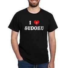 I heart Sudoku Black T-Shirt