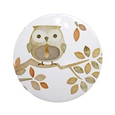 Owl with Tie in Tree Ornament (Round)